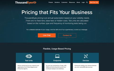 Screenshot of Pricing Page thousandeyes.com - Pricing   ThousandEyes - captured Aug. 30, 2019