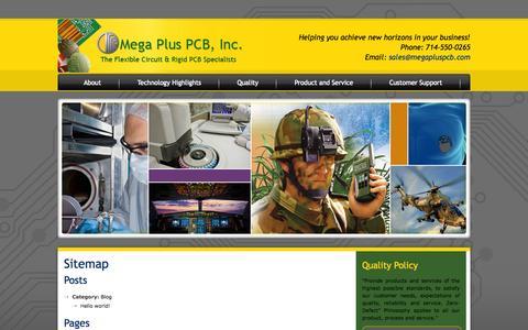 Screenshot of Site Map Page megapluspcb.com - Sitemap :Mega Plus PCB Inc - captured Oct. 27, 2014