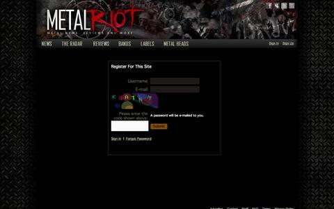 Screenshot of Signup Page metalriot.com - Metal Riot - captured Oct. 27, 2014