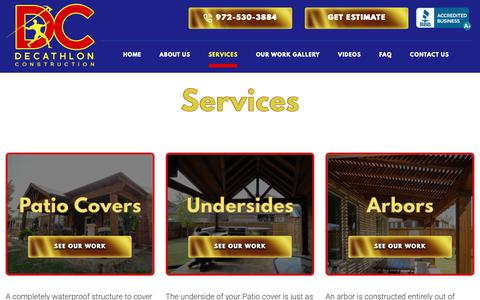 Screenshot of Services Page decathlonconstruction.com - Services - Decathlon Construction - captured Nov. 6, 2018