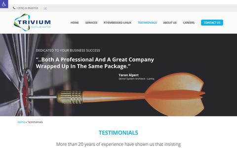 Screenshot of Testimonials Page 3vium.com - Testimonials - Trivium Solutions - captured Oct. 18, 2018