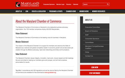 Screenshot of About Page mdchamber.org - About the Maryland Chamber of Commerce | Maryland Chamber of Commerce - captured Nov. 27, 2016