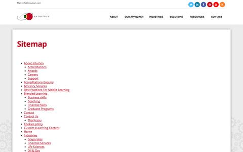 Screenshot of Site Map Page intuition.com - Sitemap » Intuition - captured Sept. 23, 2014