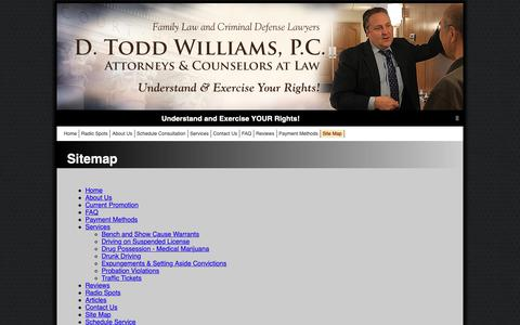 Screenshot of Site Map Page dtoddlaw.com - D. Todd Williams, P.C., Attorneys at Law: Troy, Michigan Law - captured Oct. 7, 2018