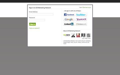 Screenshot of Login Page ukmarketingnetwork.co.uk - UK Marketing Network - captured Sept. 23, 2014