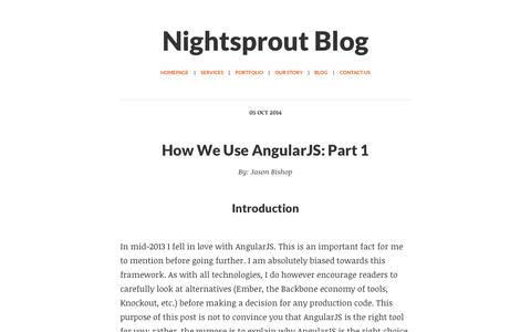 Screenshot of Blog nightsprout.com - Nightsprout Blog | Atlanta Software Development Consultancy focused on Ruby on Rails, JavaScript, and AngularJS - captured Oct. 9, 2014