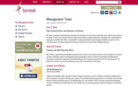 Screenshot of Team Page formtek.com - The Leaders at Formtek | Formtek Management Team | formtek - captured Oct. 27, 2014
