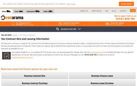 Screenshot of FAQ Page vanarama.co.uk - New Van Finance Deals UK | Van Leasing & Contract Hire - captured Nov. 12, 2018