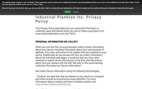 Screenshot of Privacy Page industrialplankton.com - Privacy Policy | Industrial Plankton - captured Oct. 11, 2018