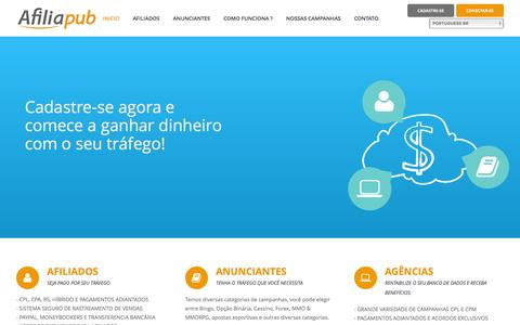 Screenshot of Home Page afiliapub.com - Afiliapub - Programa de afiliados em Brasil e Portugal - captured Dec. 24, 2015