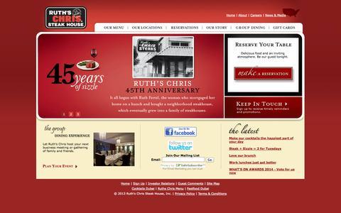 Screenshot of Home Page ruthschris.ae - Gourmet : Best Seafood : Special Dishes : Wine : Restaurant Guide : Best Buffet : Bars : Breakfast in Dubai : A Serious Steak Restaurant : Ruth's Chris Steak House - captured Oct. 6, 2014