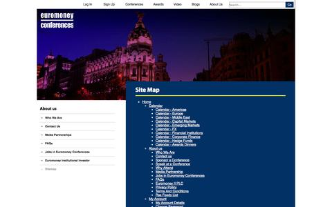 Screenshot of Site Map Page euromoneyconferences.com - Site map for Euromoneyconferences.com   Euromoney Conferences - captured Sept. 30, 2014