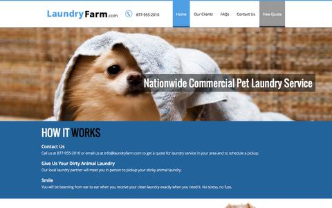 Screenshot of Home Page laundryfarm.com - Home | LaundryFarm Animal Laundry Service - captured Jan. 26, 2015
