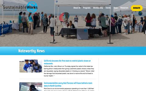 Screenshot of Press Page sustainableworks.org - Noteworthy News   Sustainable Works - captured Sept. 21, 2018