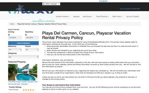Screenshot of Privacy Page vimexvacationrentals.com - Playa Del Carmen Condo Vacation Rentals  Privacy Policy - captured Aug. 12, 2018