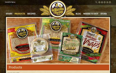 Screenshot of Products Page latortillafactory.com - Products - La Tortilla Factory - captured Sept. 27, 2014