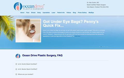 Screenshot of FAQ Page oceandriveplasticsurgery.com - FAQ| Plastic Surgery | Alan Durkin MD | Vero Beach - captured Jan. 10, 2016
