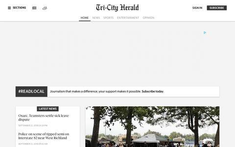 Screenshot of Home Page tri-cityherald.com - Tri-Cities WA Breaking News, Sports & Crime | Tri-City Herald - captured Sept. 23, 2018