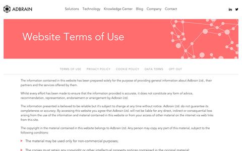 Screenshot of Terms Page adbrain.com - Terms of Use | Adbrain - captured Sept. 20, 2017