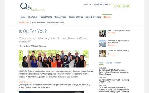 Screenshot of Jobs Page qubiologics.com - Is Qu For You?   Qu Biologics Inc - captured Nov. 5, 2016