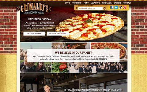 Screenshot of Jobs Page grimaldispizzeria.com - Grimaldi's Coal Brick-Oven Pizzeria with locations in Arizona, California, Colorado, Florida, Nevada, South Carolina and Texas - captured Dec. 15, 2015