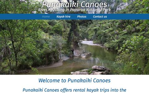 Screenshot of Home Page riverkayaking.co.nz - Punakaiki Canoes – River Kayaking in Paparoa National Park, West Coast, New Zealand - captured March 11, 2016