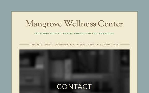 Screenshot of Contact Page mangrovewellness.com - Contact — Mangrove Wellness Center - captured Nov. 2, 2014