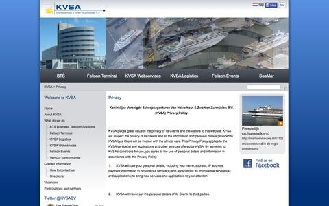 Screenshot of Privacy Page kvsa.nl - KVSA van Halverhout & Zwart en Zurmühlen B.V. - captured Oct. 1, 2014