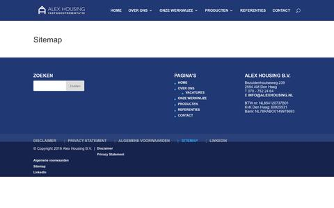 Screenshot of Site Map Page alexhousing.nl - Sitemap - Alex Housing Vastgoedpresentatie - captured July 29, 2018