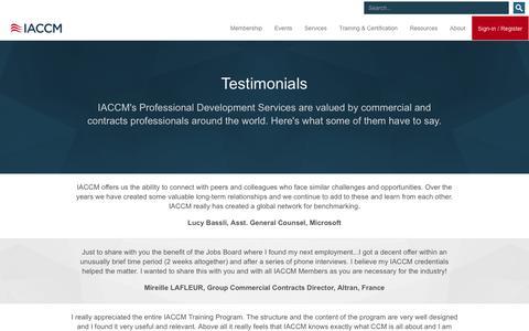 Screenshot of Testimonials Page iaccm.com - Testimonials - captured Dec. 18, 2015