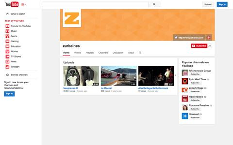 Screenshot of YouTube Page youtube.com - zurbaines  - YouTube - captured Nov. 2, 2014