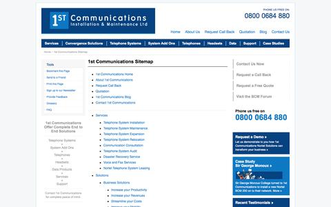 Screenshot of Site Map Page 1st-comms.com - Sitemap : The Nortel Specialists : 1st Communications Installation and Maintenance - captured Oct. 27, 2014