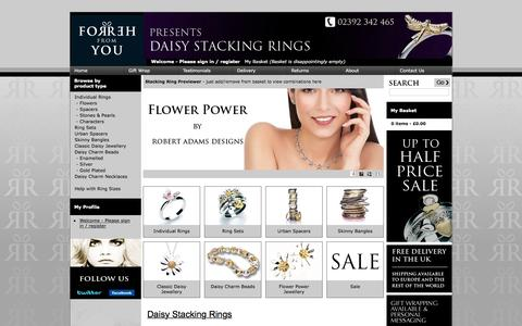 Screenshot of Home Page daisy-stacking-rings.co.uk - Daisy Jewellery Stacking Rings | Half Price Sale Now On - captured April 20, 2016