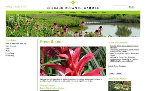 Screenshot of Press Page chicagobotanic.org - Press Room | Chicago Botanic Garden - captured June 29, 2017
