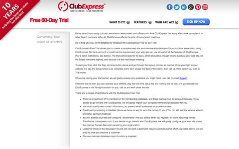 Screenshot of Trial Page clubexpress.com - Trial Mode - ClubExpress - Club and Association Management Software - captured Sept. 22, 2014
