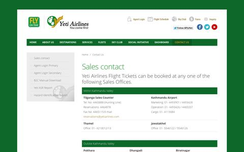 Screenshot of Contact Page yetiairlines.com - Contact Us - captured Sept. 23, 2014