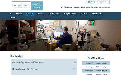 Screenshot of Services Page soundshorevision.net - Eye Exams in Mamaroneck | Mamaroneck Contact Lenses | 10543 Designer Frames - captured Jan. 23, 2018