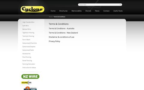 Screenshot of Terms Page cyclonewire.co.nz - Terms & Conditions | Cyclone - captured Sept. 30, 2014