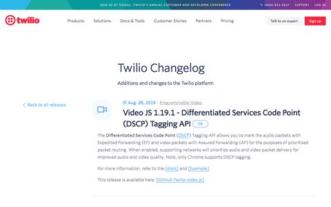 Screenshot of Services Page twilio.com - Video JS 1.19.1 - Differentiated Services Code Point (DSCP) Tagging API - captured Nov. 28, 2019