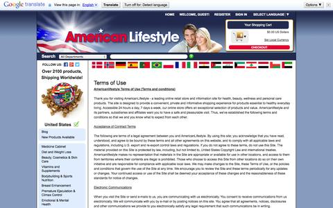 Screenshot of Terms Page americanlifestyle.com - Terms of Use - captured Sept. 24, 2014