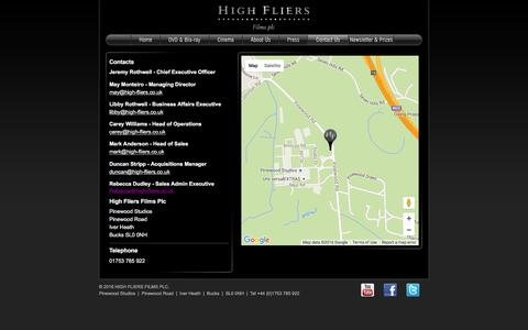 Screenshot of Contact Page highfliersplc.com - High Fliers Films   Contact Us - captured March 12, 2016