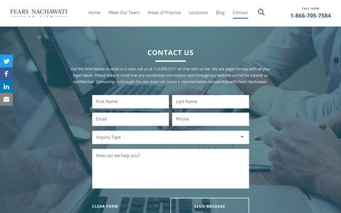 Screenshot of Contact Page fnlawfirm.com - Fears Nachawati Law Firm - Immigration Law, Business Law | Fears Nachawati Law Firm - captured Sept. 26, 2018