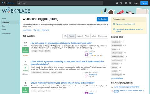 Screenshot of Hours Page stackexchange.com - Newest 'hours' Questions - The Workplace Stack Exchange - captured June 27, 2019