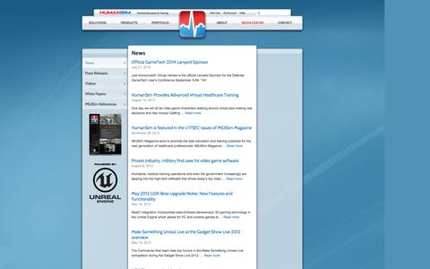 Screenshot of Press Page humansim.com - Medical Simulation Training | Press Releases | White Papers | News - captured Oct. 3, 2014