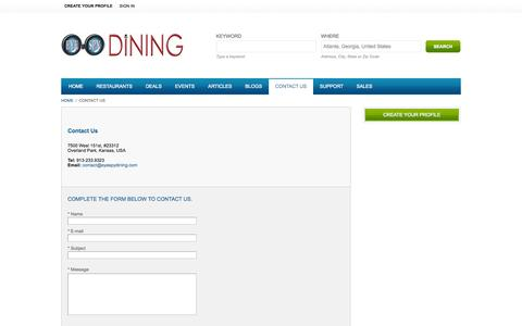 Screenshot of Contact Page eyespydining.com - Contact Us - captured Sept. 30, 2014