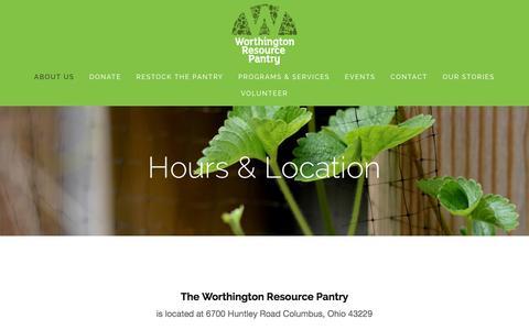 Screenshot of Hours Page worthingtonresourcepantry.org - Hours & Location — Worthington Resource Pantry - captured Jan. 27, 2016