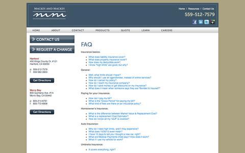 Screenshot of FAQ Page mackey-insurance.com - FAQs - captured Feb. 2, 2016