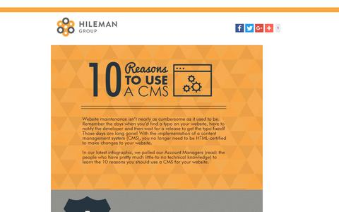 Screenshot of Landing Page hilemangroup.com - 10 Reasons to Use a CMS - captured Aug. 23, 2016