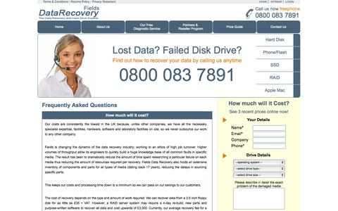 Screenshot of FAQ Page fields-data-recovery.co.uk - Fields Data Recovery - captured Oct. 27, 2014