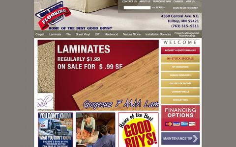 Screenshot of Home Page bigbobsmn.com - Minneapolis Flooring | Wholesale Carpet, Laminate, Hardwood, Vinyl - captured Oct. 5, 2014
